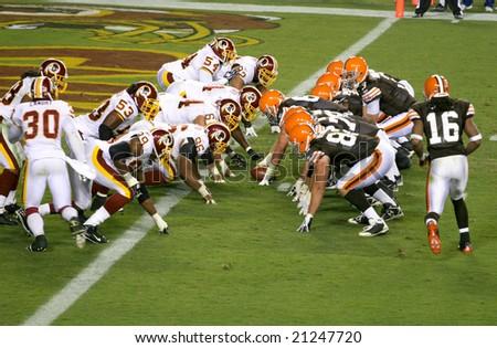 Washington, DC - October 19: Washington Redskins defending against Cleveland Browns at Fedex Stadium in Washington, DC, on October 19, 2008. Redskins won 14-11 - stock photo
