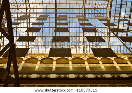 Washington DC - Old Post Office glass dome interior detail - stock photo