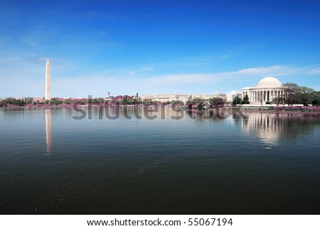 Washington DC panorama with Washington monument and Thomas Jefferson memorial. - stock photo