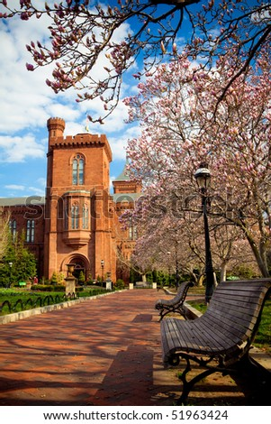 Washington DC Park bench Spring Scene - stock photo