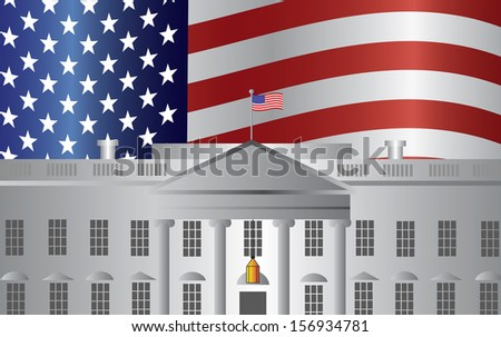Washington DC President White House Building with US American Flag Background Raster Illustration - stock photo