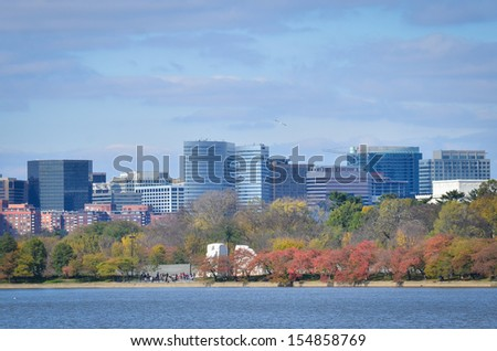 Washington DC, Rosslyn with Potomac river foreground in Autumn - United States - stock photo