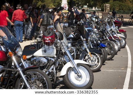 WASHINGTON DC - SEPT 11, 2015: Bikers park their motorcycles near the U.S. Capitol building and assemble during the annual 2 Million Bikers to DC Honor Ride commemorating the 9/11 terrorist attacks. - stock photo
