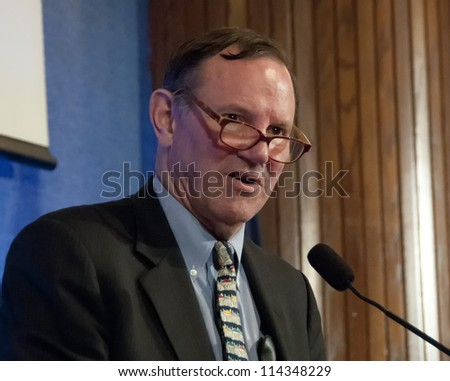 WASHINGTON, DC - SEPT. 21:   Donald Graham, Chairman and CEO of the Washington Post Company speaks at the National Press Club, September 21, 2012 in Washington, DC - stock photo