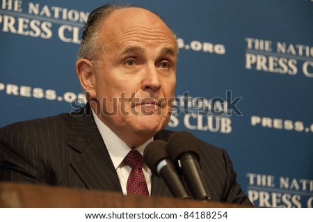 WASHINGTON, DC - SEPTEMBER 6:  Former New York City Mayor Rudy Giuliani speaks about September 11, 2001 terrorist attacks to a National Press Club luncheon, September 6, 2011 in Washington, DC - stock photo