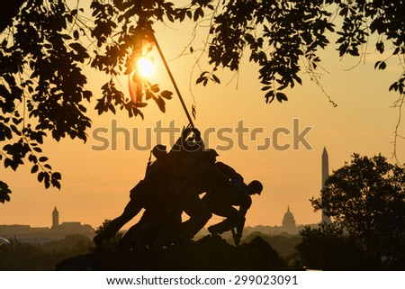 WASHINGTON, DC - SEPTEMBER 07, 2014: Iwo Jima Memorial in Washington DC. The Memorial honors the Marines who have died defending the US since 1775 and a prominent tourist attraction in Washington DC.  - stock photo