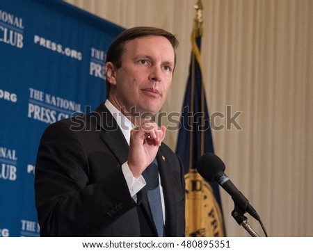 Washington, DC - September 8, 2016: Senator Chris Murphy (D-CT) speaks on reform of gun laws at a National Press Club luncheon.