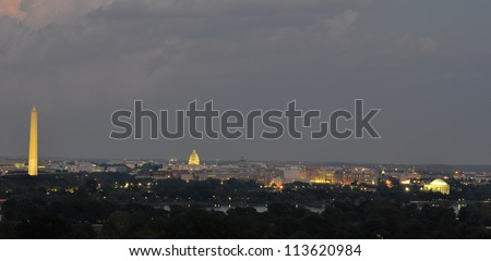 Washington DC skyline at night, including Washington Monument, United States Capitol and Thomas Jefferson Memorial
