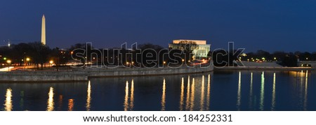 Washington DC -  Skyline at night with Lincoln Memorial, The Monument and Potomac River. - stock photo