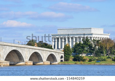 Washington DC skyline view with Lincoln Memorial and Memorial Bridge on Potomac River   - stock photo