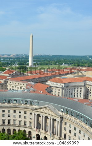 Washington DC, skyline with federal government buildings and the Monument - stock photo