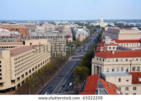 Washington DC skyline with government buildings and capitol hill on Pennsylvania Avenue.