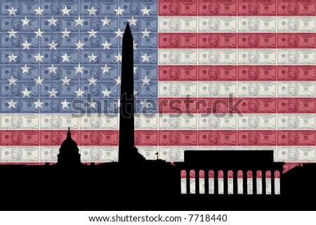 Washington DC skyline with ten dollar bills and American flag - stock photo