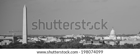 Washington DC skyline with Washington Monument, United States Capitol building and Potomac River - Black and White  - stock photo