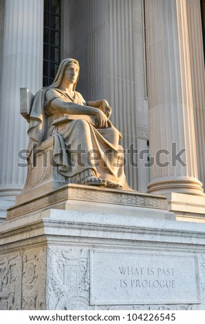 Washington DC - Statue in front of Archives of the United States Building - stock photo