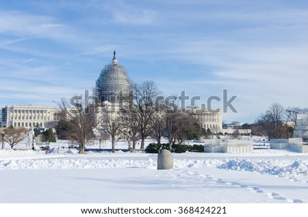 Washington DC streets covered with show after huge snow storm on east coast - stock photo