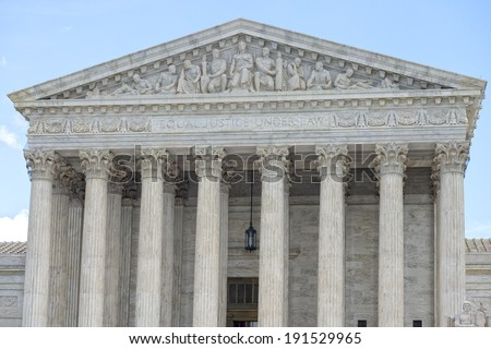 Washington DC Supreme Court facade equal justice under the law - stock photo