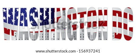 Washington DC Text Outline Silhouette with US Capitol Building with US American Flag Background Raster Illustration - stock photo
