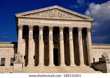 Washington, DC: The ancient Greece inspired neo-classical facade of the 1935 United States Supreme Court on First Street SE - stock photo