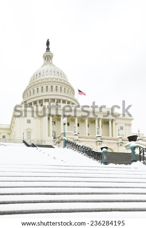 Washington DC - The Capitol Buildin in snow - stock photo