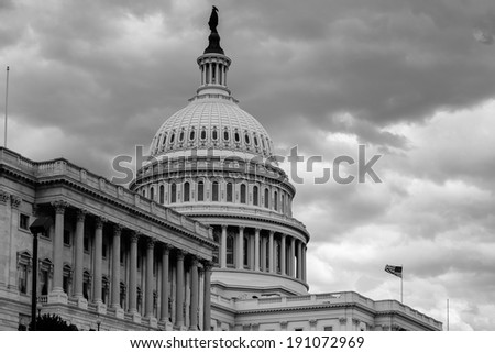 Washington DC - The Capitol dome detail in cloudy dramatic day - Black and White - stock photo