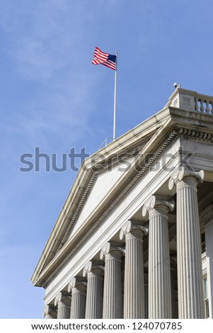 Washington DC - The Treasury Department Building entrance detail - stock photo