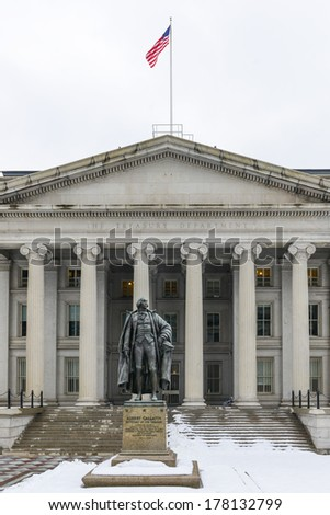Washington DC - The Treasury Department Building in Winter  - stock photo