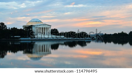 Washington DC, Thomas Jefferson Memorial  at sunset with mirror reflection on water,