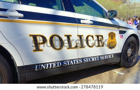 WASHINGTON DC, U.S.A. - APRIL 11, 2015: A police car is parked in front of the White House in Washington DC.  - stock photo