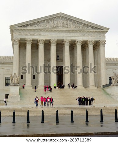 WASHINGTON DC, U.S.A. - APRIL 14, 2015: The facade of the Supreme Court building in Washington DC. - stock photo