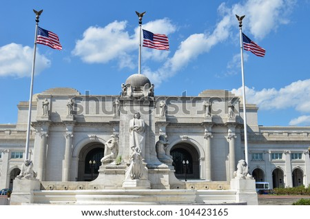 Washington DC - Union Station with Columbus statue foreground - stock photo