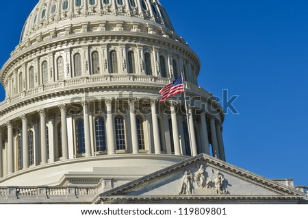 Washington DC, United States Capitol Building east facade dome detail - stock photo