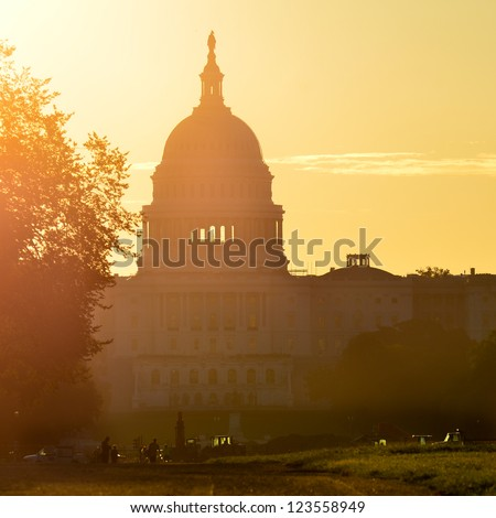 Washington DC - United States Capitol building silhouette - stock photo