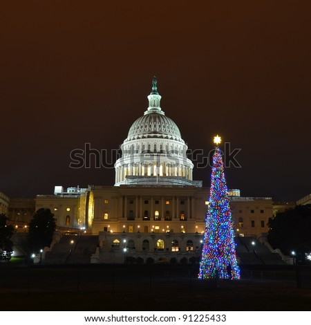 Washington DC, United States Capitol Building with Christmas Tree in sunrise