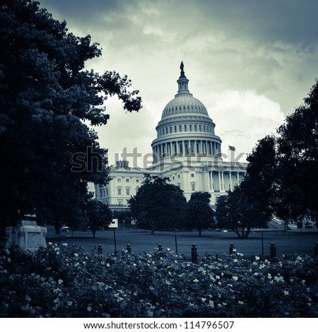 Washington DC, United States Capitol Building with dramatic clouds - toned