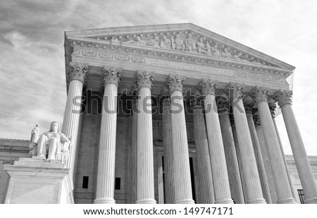 Washington, DC, United States of America , Supreme Court building -  black and white - stock photo