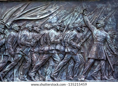 WASHINGTON DC, UNITED STATES--SEPTEMBER 30, : Union Soldiers Charging Ulysses US Grant Civil War Memorial in Capitol Hill on Washington DC on September 30, 2012.  Created by Henry Shrady in 1922. - stock photo