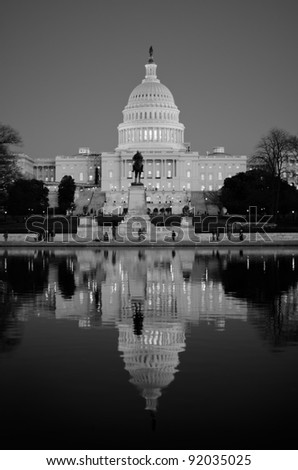 Washington DC, Unites States Capitol Building in black and white