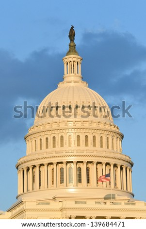 Washington DC, US Capitol Building dome detail at dusk - stock photo