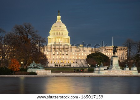 Washington DC - US Capitol Building in Autumn night
