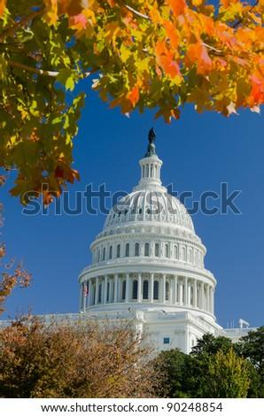 Washington DC, US Capitol building in autumn, United States - stock photo