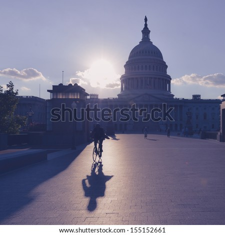 Washington DC - US Capitol Building silhouette - stock photo