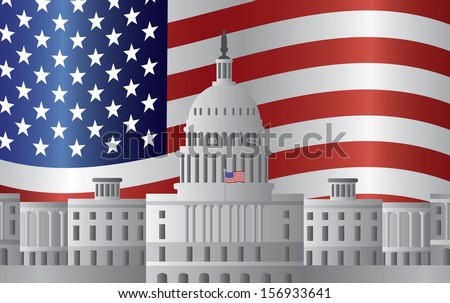 Washington DC US Capitol Building with US American Flag Background Raster Illustration - stock photo