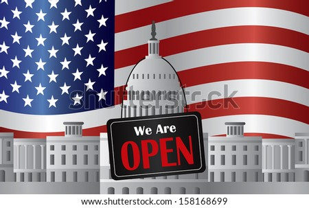Washington DC US Capitol Building with We are Open Sign on US American Flag Background Raster Illustration - stock photo