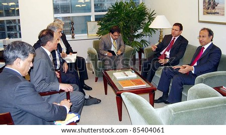 WASHINGTON DC, US - SEPT 24: Pakistan Finance Minister, Dr.Abdul Hafeez Shaikh in meeting with his Afghan counterpart, Omar Zazhilwal at World Bank DC on September 24, 2011in Washington.