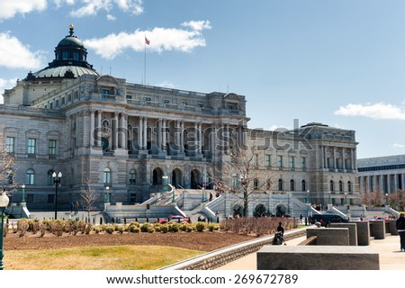 Washington DC, USA - April 04, 2015 - Library of Congress Thomas Jefferson building in Washington DC USA in spring. The largest library in a world. - stock photo