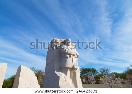 WASHINGTON DC, USA - APRIL 12, 2014: Martin Luther King Jr Memorial during cherry blossom festival in Washington DC on April 12, 2014. The memorial opened to the public on August 22, 2011. - stock photo