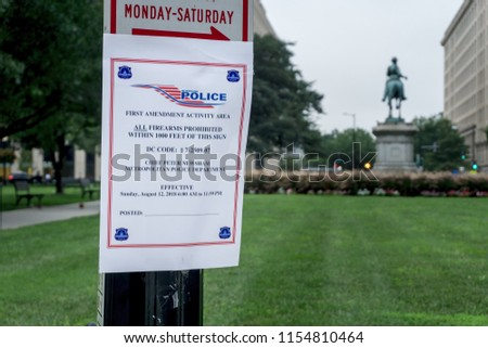 Washington, DC / USA - August 12, 2018: to help ensure safety during the Unite the Right rally and counter-protests, Washington, DC has prohibited all firearms where protesting has been permitted.