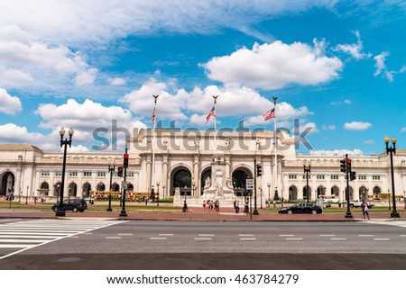 Washington DC, USA - AUGUST 04, 2016: Union train station and the fragments of Columbus monument in Washington, DC. Editorial.