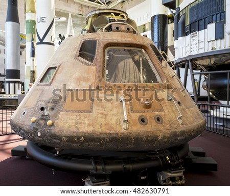 WASHINGTON DC, USA - AUGUST 30: View of part of the spaceship by NASA which brought astronauts back from the moon in a public and free exhibition in Washington DC, USA on August 30, 2016.